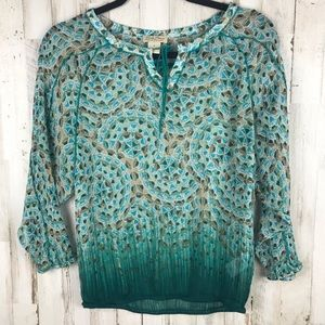 Lucky Brand Sheer Peacock Print Blouse Size Small